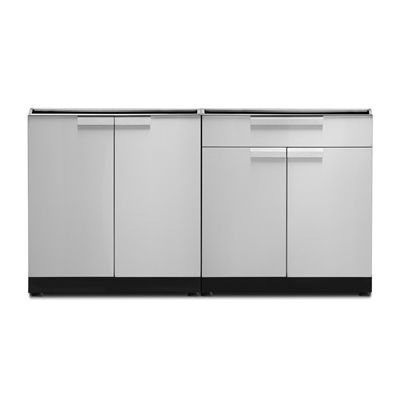 Newage Products Outdoor Kitchen Stainless Steel 2 Piece Cabinet Set With Door And Bar Cabinets Custom Countertops Bar Cabinet Outdoor Kitchen Cabinets