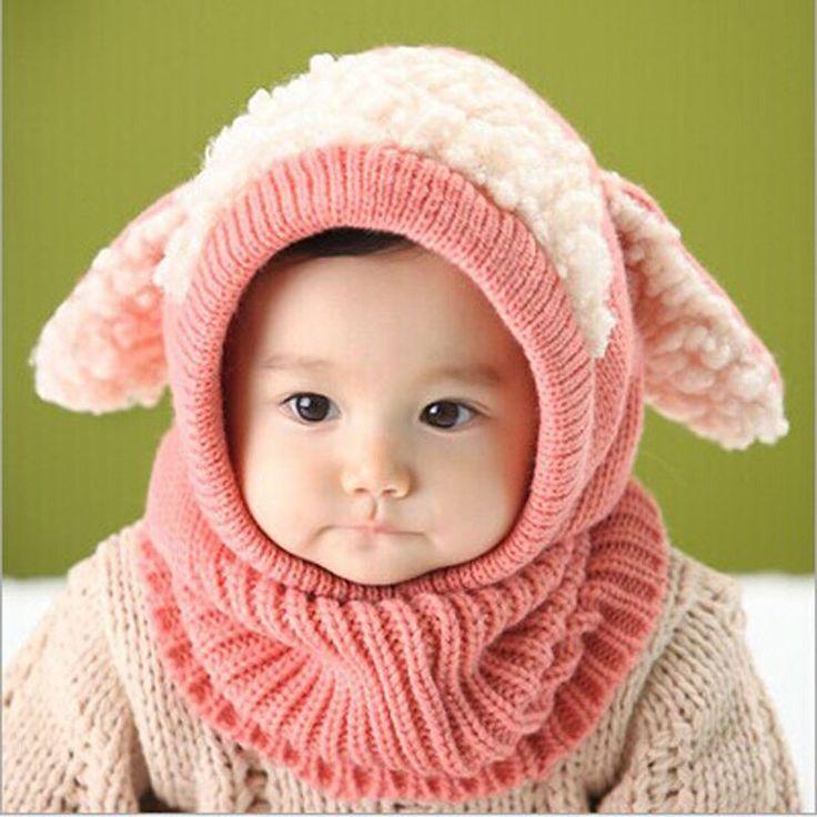 Baby Kids  Winter Warm Knitted Woolen Hood Caps Hats