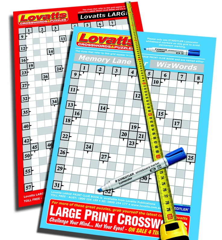 Large Print Crossword Grid and Puzzle Pack