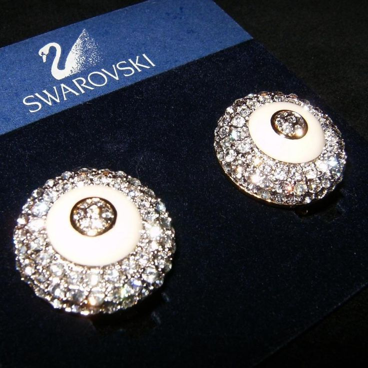 175 Swarovski Amazing Rhinestone Crystal Ivory On Clip Statement Earrings