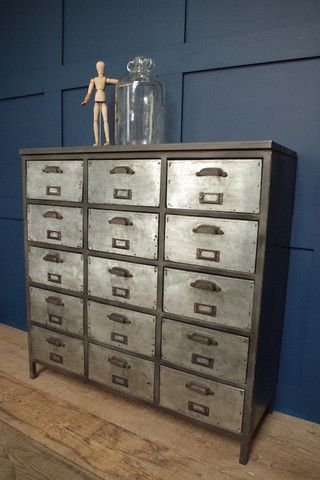 vincentandbarn.co.uk | 15 Drawer Iron Unit | Vintage Industrial Furniture | Warehouse Home Design Magazine