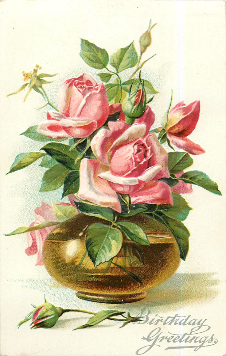 Vintage Birthday Postcard with a Bouquet of Pink Roses In a Gold Bowl, 1908