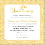 Busy Floral In Gold Anniversary Square Shimmer Party Invitations