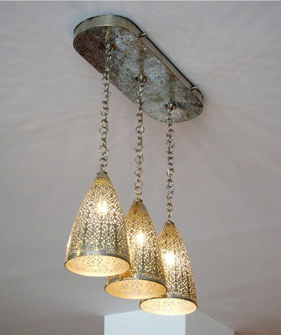Moroccan Lamp , Brass Antique Vintage Chandelier , 3 Lamps Moroccan Lighting Moroccan pendant , ceiling light , hanging lamp ,Moroccan decor