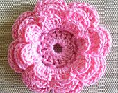 10 Pink Crochet Flower Appliques, Three-Layer Flowers, French Rose Pink