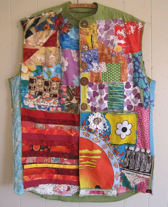 My Bonny  Happy Collaboration many elements altered, adapted, cut collaged artisan attire fabrics  Wearable Art quilting scraps galore smashed  bottle caps kimono patchwork crochet Indian bandana birds fruit watering can Hawaiian print polka dots lace