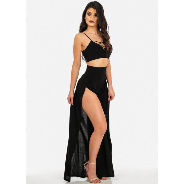 Sexy Black Two-Piece Crop Top and High Waist Pants Jumpsuit (SET) ($45) ❤ liked on Polyvore featuring jumpsuits, two piece jumpsuit, cropped jumpsuit, sexy jump suit, high waisted two piece and sexy two piece