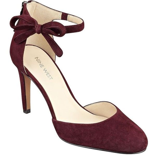 Nine West Howley Suede Pumps (105 CAD) ❤ liked on Polyvore featuring shoes, pumps, heels, dark red, suede ankle strap pumps, nine west, nine west pumps, bow shoes and suede pumps