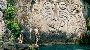 Mine Bay Maori rock carvings, Lake Taupo