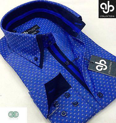 New Mens Formal Smart Royal Blue Italian Design Double Collar Slim Fit Shirt
