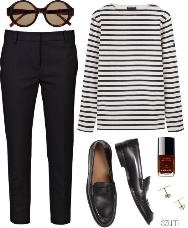 striped shirt, black tailored trousers and black shoes