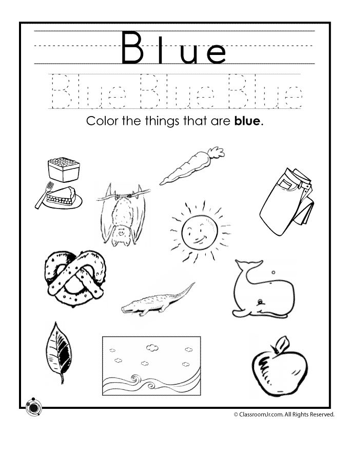 Learning Colors Worksheets for Preschoolers Color Blue Worksheet – Classroom Jr.