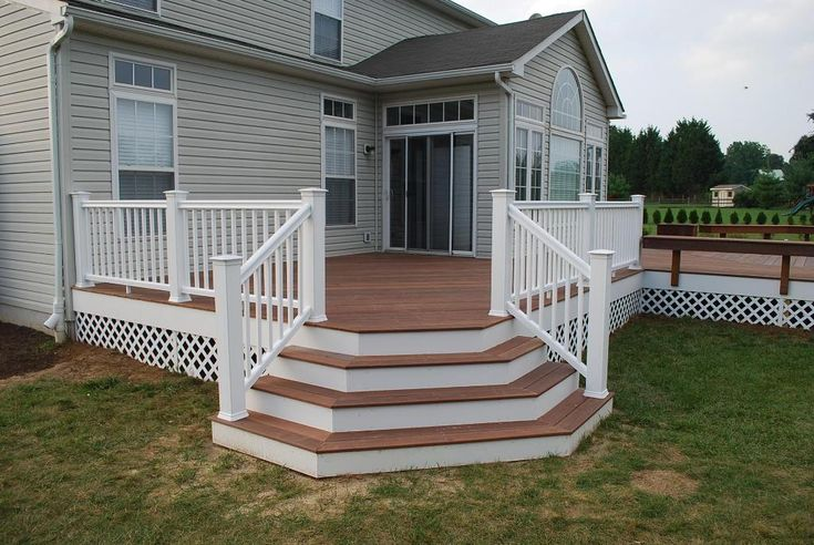 Deck designs brazilian redwood deck with flared stairs for Building a front porch deck