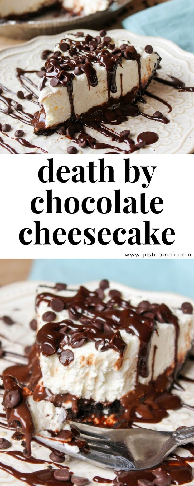 No bake cheesecake recipe that is SO GOOD! Check out this death by chocolate cheesecake recipe on Just A Pinch! #dessert #dessertrecipes #cheesecake #chocolate
