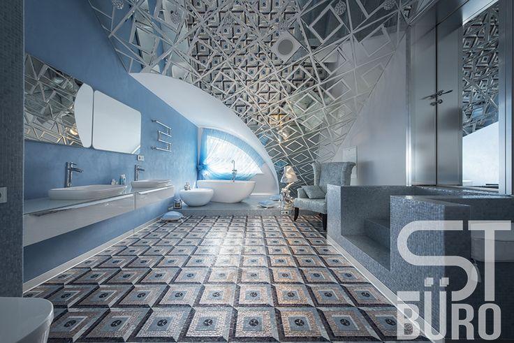 Загородный дом. 400 кв.м. Ванная комната. Сложное мансардное помещение над гаражом имеет арочные своды. Дизайнер превратил нестандартный потолок в оригинальное интерьерное решение. Поверхность отделана зеркальной плиткой, в которой отражается уникальный мозаичный орнаментальный пол.  #Загородныйдом #цветныедетали #комфорт #атмосфера #дизайн #интерьер #дизайнинтерьера #дом #квартира #бюродизайна #арка #жилыеинтерьеры #мансарда #минимализм #москва #зеркало #ремонт #орнамент #дизайнвыгодно…