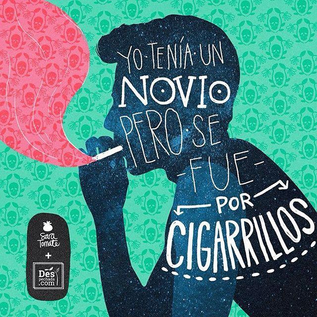 #Despechada, ya sabes... los que se van por cigarrillos es mejor que no vuelvan!! A @saratommate mil gracias por ilustrar el despecho, y a ti, te invitamos a visitar www.despechada.com.#ilustración #amor #cigarrillos #novio #despecho