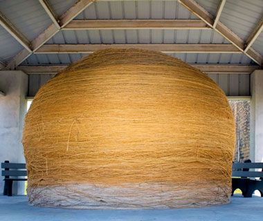 World's Largest Ball of Twine, Cawker City, KS, is 40 ft. in circumference and weighs 17,980 lbs.