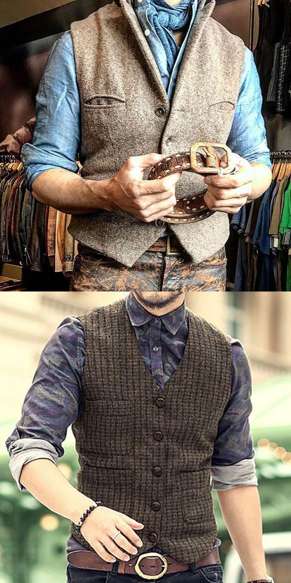OnIn Mens V-neck Woven Men Mature Casual Vest Sweater Waistcoat Pullovers