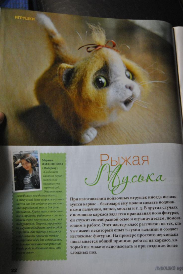 Дорогие мои друзья и подписчики! Хочу поделиться с вами приятной для меня новостью: в январском выпуске журнала 'Лукошко идей' (спецвыпуск 'Валяние') вышел мой мастер-класс по валянию на каркасе. Вот она, 'Рыжая Муська'! Это уже второй мой опыт сотрудничества с журналом - и опять мы делали кота :-) Журнал уже есть в продаже в Беларуси и должен скоро появиться в России.