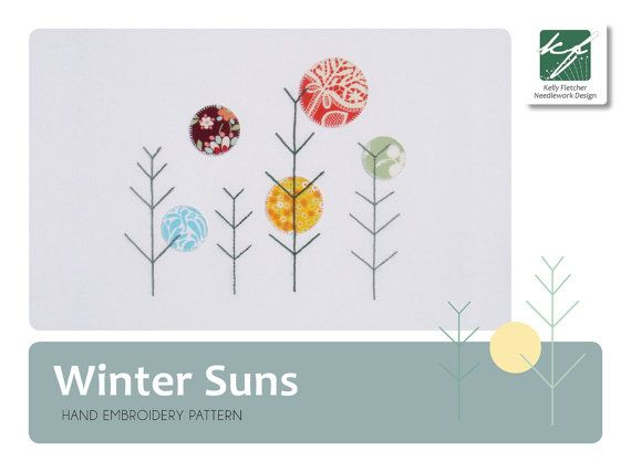 Winter Suns modern hand embroidery pattern by KFNeedleworkDesign