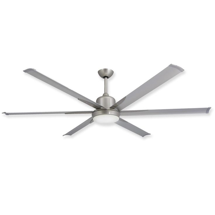TroposAir Titan Brushed Nickel Large Industrial Ceiling Fan With DC Motor,  Extruded Aluminum Blades, Integrated Light And Remote TroposAir By Danu0027s Fan  City