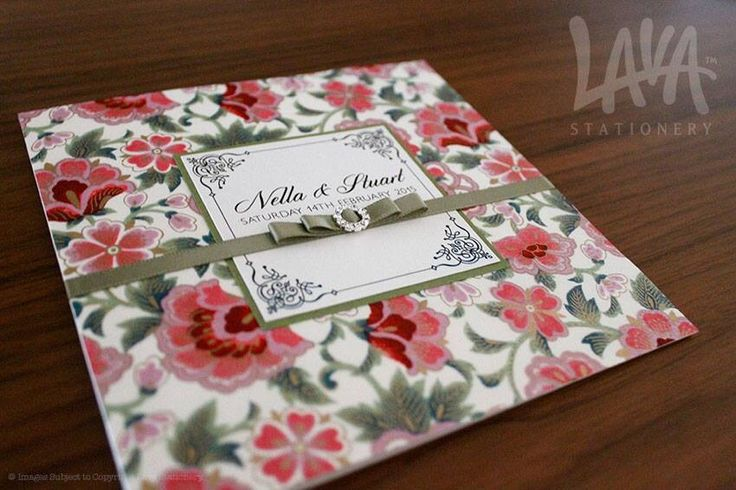 Floral wedding invitation by www.lavastationery.com.au