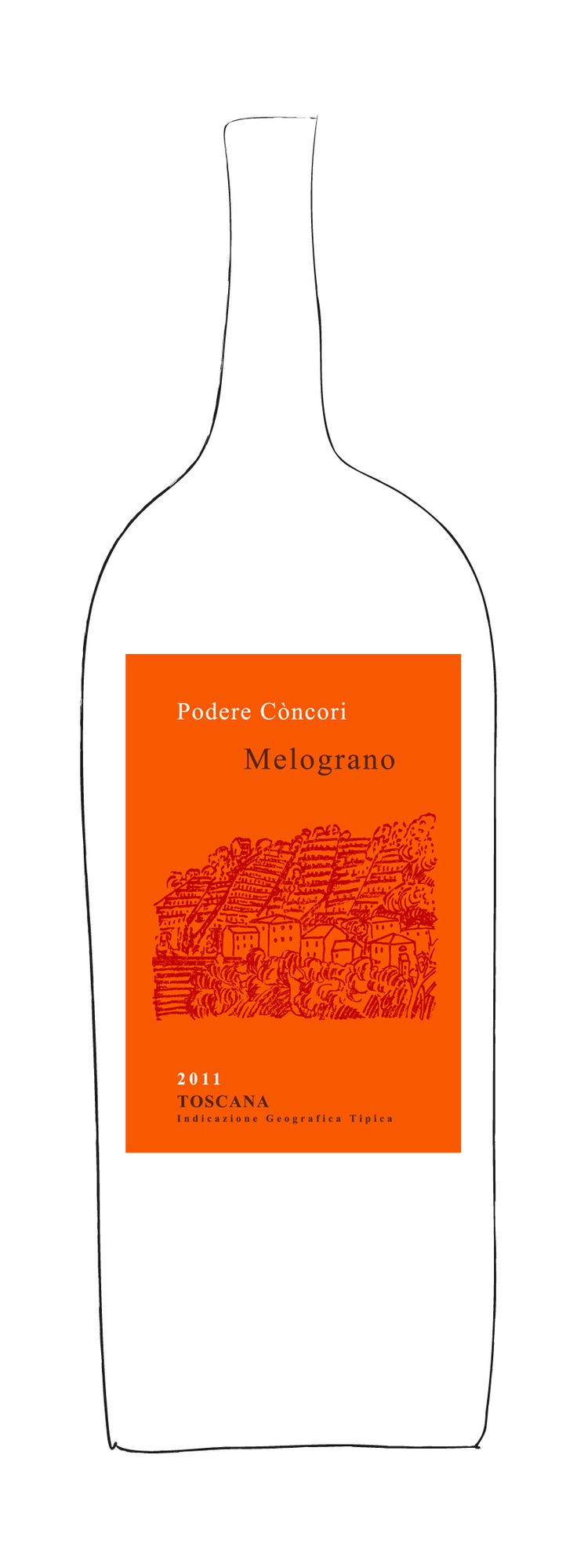 """Melograno 2011, Podere Concori - """"Its ruby red colour sparkles with light. The aromatic profile is clear-cut, intriguing, lively & expressive: red wild berries, black cherry and pepper as well as hints of the aromatic herbs found in the vineyards. Rhythm and freshness. Instinctively easy to enjoy. Grape varieties: Syrah and a small percentage of old native varieties."""""""