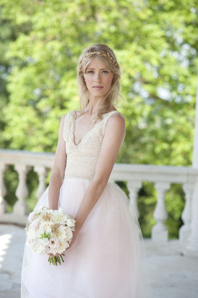 Dress by Rita Colson Cliveden Bride Collection 'Veera' gown Full bodice beaded dress with a full skirt. #clivedenhouse #luxury #bridalwear #brides #couture #bespoke #tulle #blush #ritacolson #elegance #bridalgown #ethicalfashion #bridesmagazine #britishdesigners #opulent www.ritacolson.com