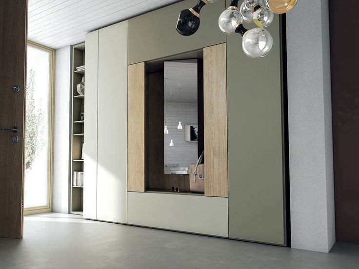 Sectional lacquered wooden wardrobe with folding doors ROOMY | Wooden wardrobe - Caccaro