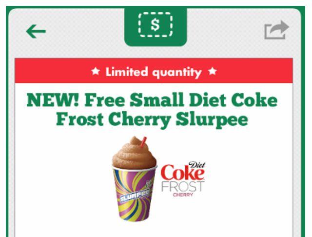 7-Eleven:  FREE Diet Coke Frost Cherry Slurpee (Check Your 7-Eleven App)!