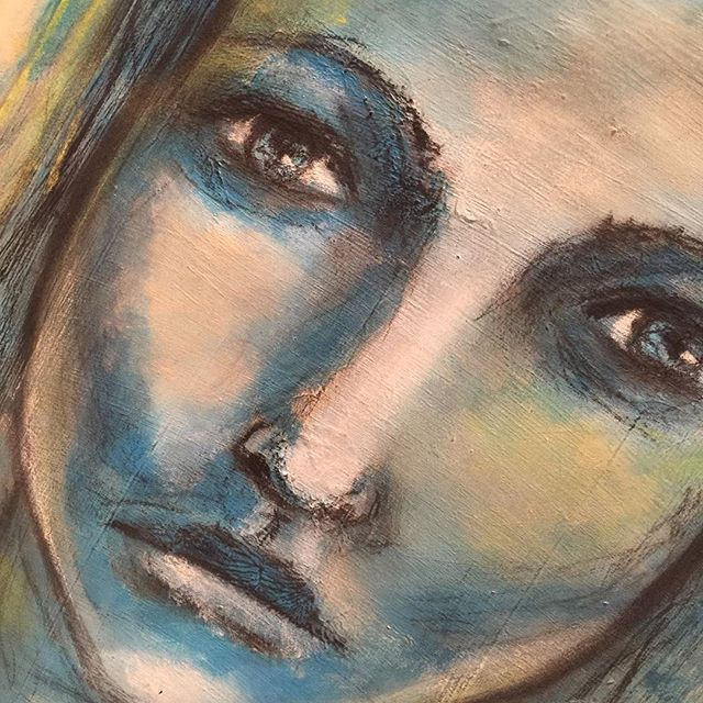 First face using acrylics and charcoal only! Was alot of fun, but need lots of #practice in my #artjounal. #instaartist #kunstwerk #kunst #artwork #practicemakesperfect #portraits #painting