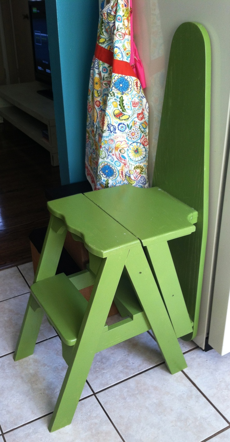 handmade wooden furniture - ironing board stepstool ladder combo - would be  neat to be able to fold the stepstool part back further to make a seat ... - Handmade Wooden Furniture - Ironing Board Stepstool Ladder Combo