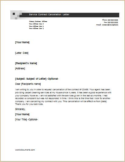 cancellation letter templates for word document maintenance contract termination business