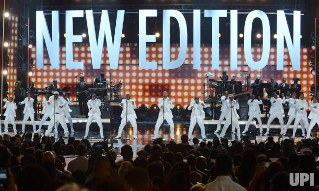 Young and adult cast members of 'The New Edition Story' and original members of New Edition perform o perform onstage onstage during the…