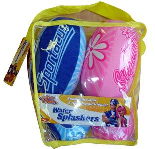 lazy town Water Splashers This 5 piece Lazy Town water splashers set will give little ones hours of summertime water fun, with 2 pink balls for Stephanie, 2 blue balls for Sportacus and a Lazy Town flying disc completing the s http://www.comparestoreprices.co.uk/outdoor-toys/lazy-town-water-splashers.asp