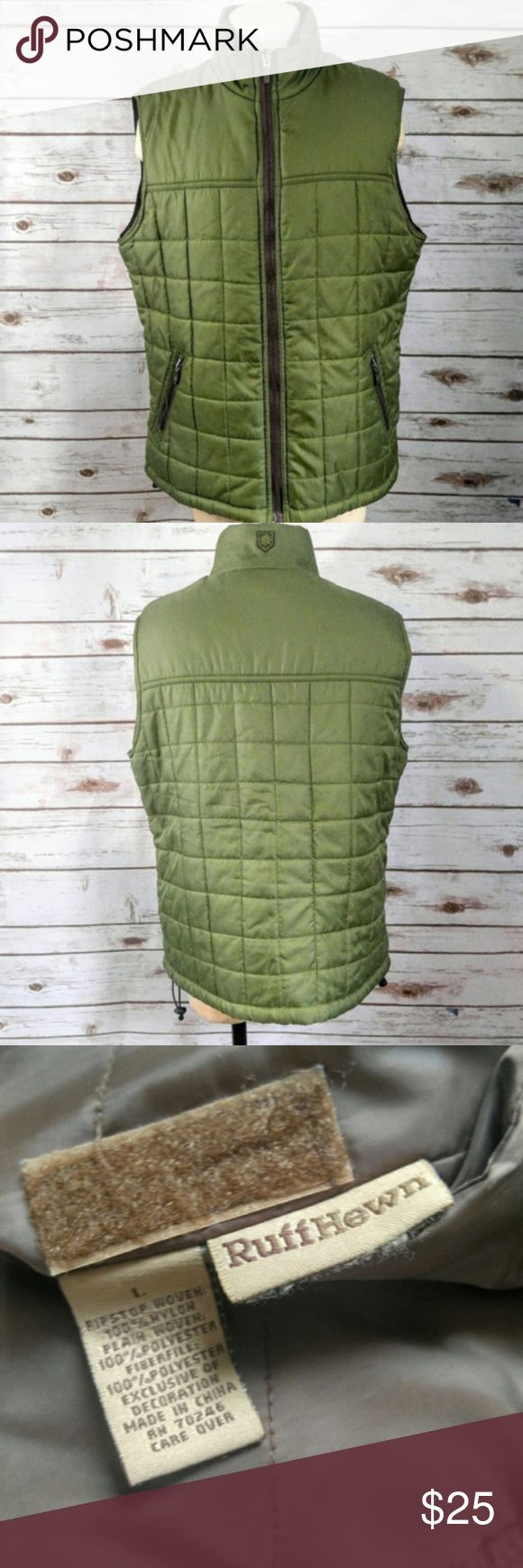 """Ruff Hewn Reversible Brown and Green Quilted Vest Ruff Hewn Reversible Brown and Green Quilted Vest Materials: Polyester Size: Large Measurements Laid Flat Bust:  21"""" Length: 24"""" Feel free to ask questions, I'll reply within 24 hours. Ruff Hewn Jackets & Coats Vests"""