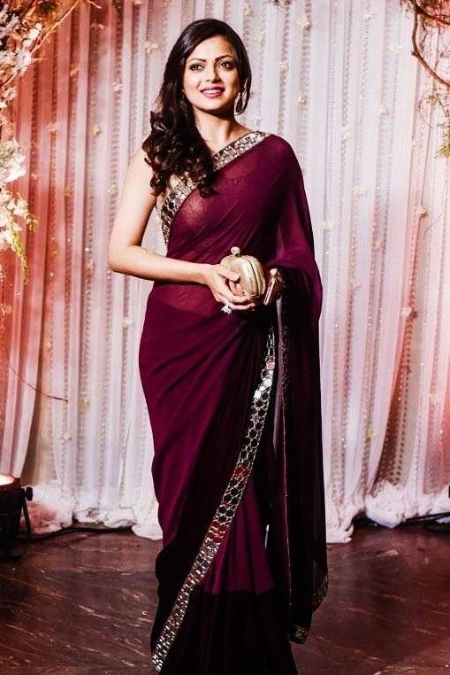 Gorgeous mirror work saree