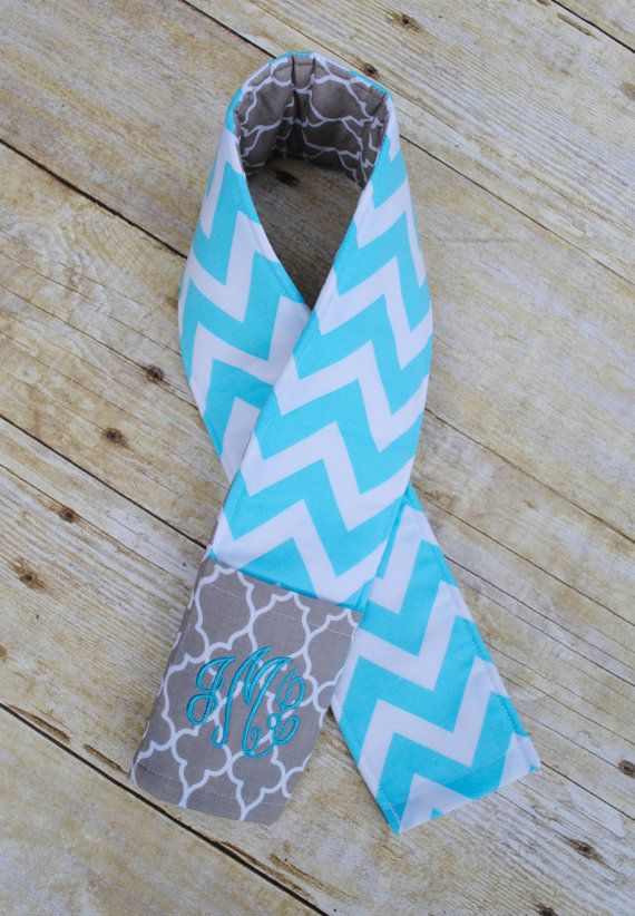 Monogrammed camera strap cover turquoise chevron/ gray