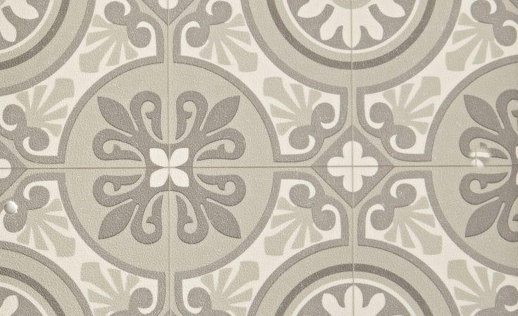 Saint Maclou | Sol vinyle EMOTION, carreau ciment beige, rouleau 4 m - Sol Vinyle - Collection Sol