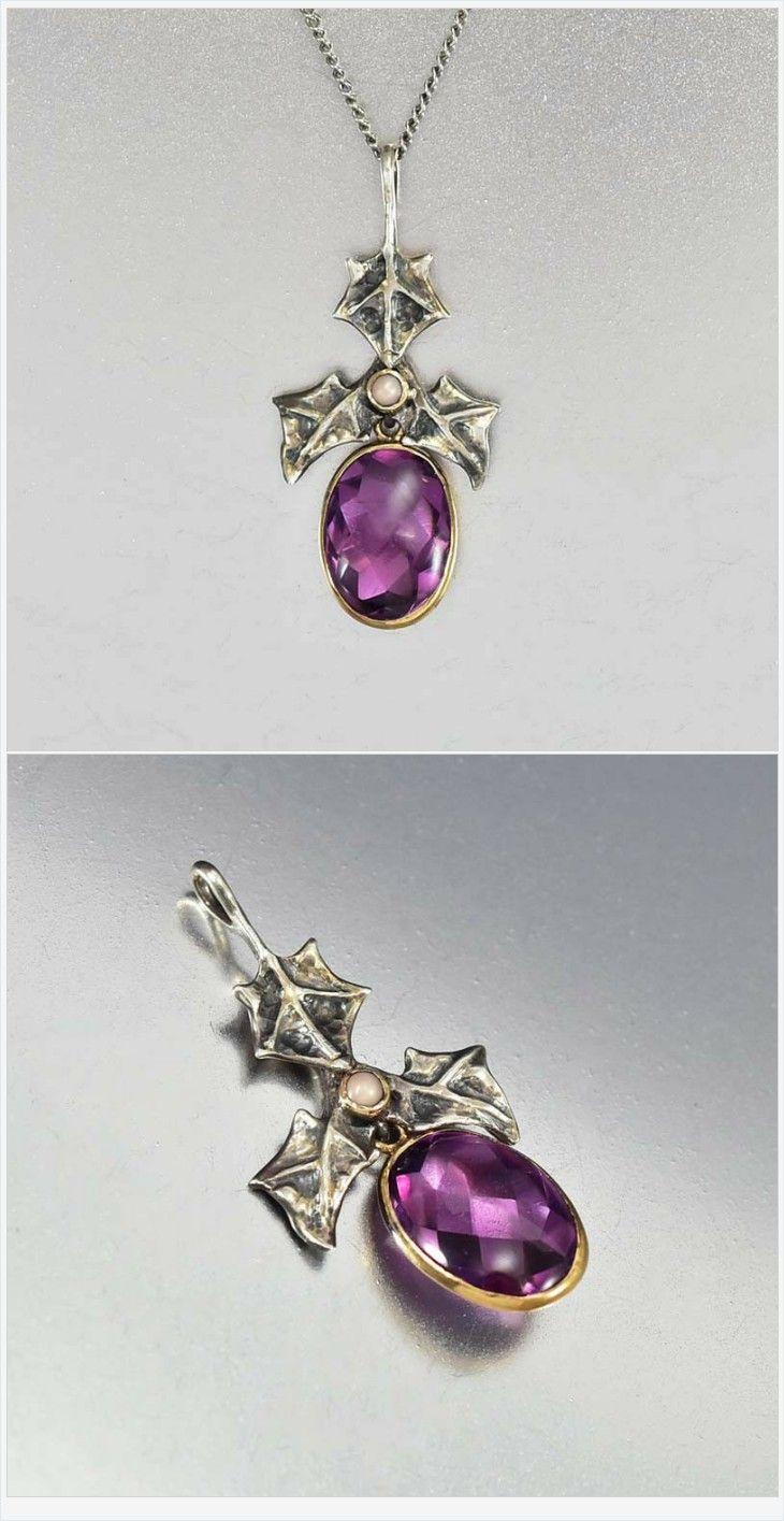 10K Gold Art Nouveau Pearl Amethyst Pendant Necklace