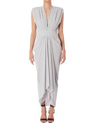 Platinum Chiffon Waterfall Dress