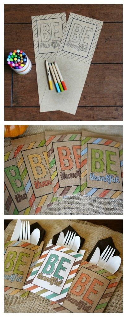 BE thankful utensil holders. Free printable and simple to put together!