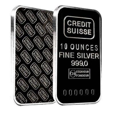 10 oz Credit Suisse Silver Bar .999 Fine (Secondary Market) - Rare