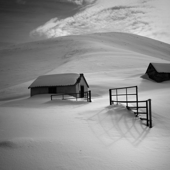 Les cabanes - Photography,  50x50 cm ©2017 by Bruno Blais -                                                                          Documentary, Paper, Black and White, Landscape, nature, paysage, pyrénées, montagne, mountains, snow, neige, hiver, winter, cabanes