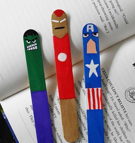 Brinquedos criativos com material reciclado para fazer em casa ou na escola com os pequenos: Marcadores de livros