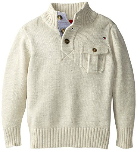 Tommy Hilfiger Little Boys' Lawerence Botton Neck, Oatmeal Heather, 04 Regular
