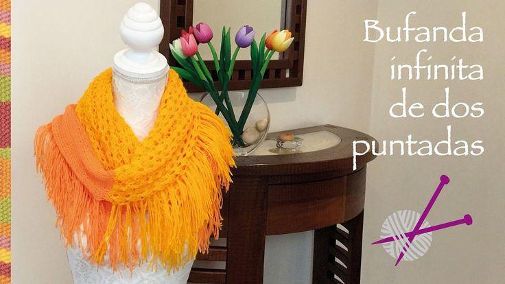 Divertida bufanda infinita de dos puntadas diferentes con flecos tejida ...