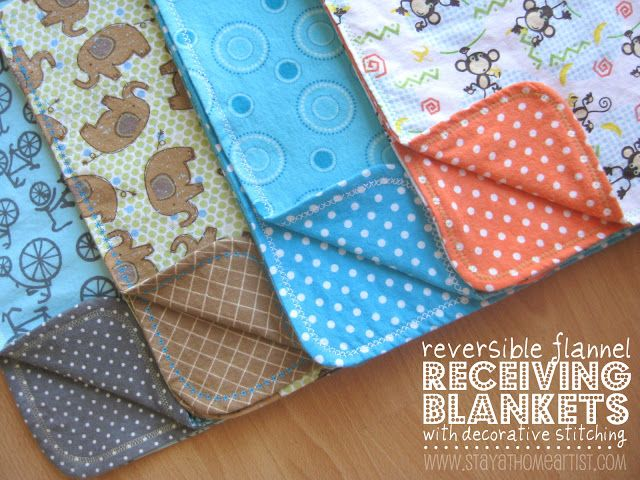 Handmade Receiving Blankets  To make one of these little blankets, you will need:  1 yard of flannel for the front  1 yard of co-ordinating flannel for the back  thread (preferably in a fun, contrasting color)  rotary cutter or scissors  sewing machine  pins  small round bowl or plate    #DIY #Crafts #Sewing