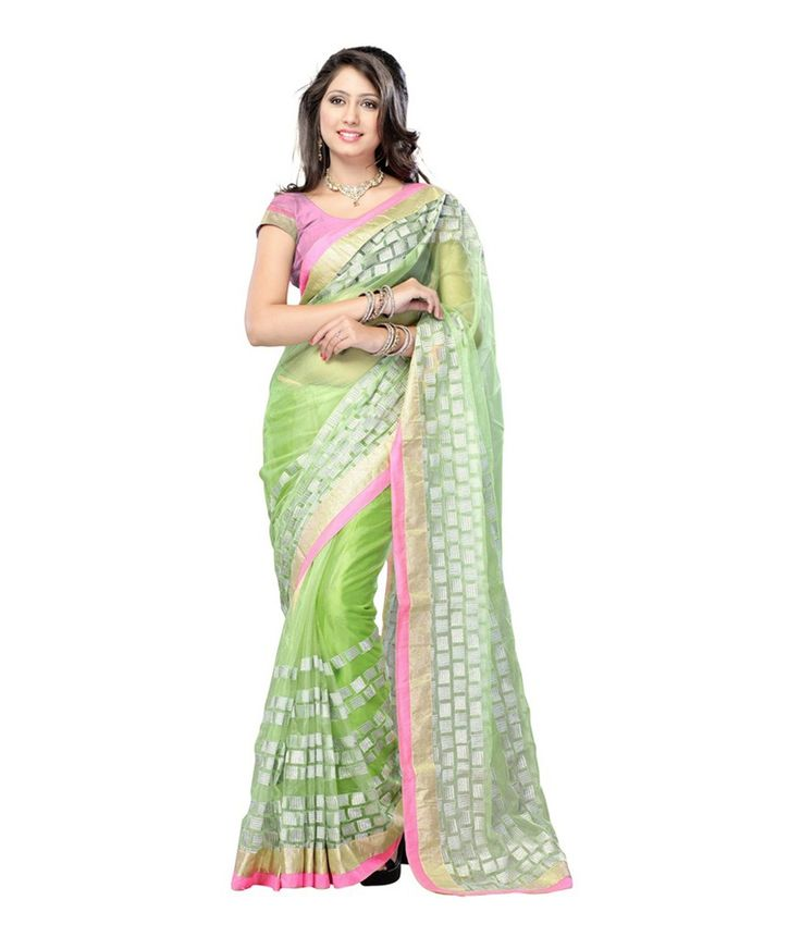 Green Net Chanderi Saree With Blouse Piece Brand: Fashiongroop Price Rs. 2,069.00