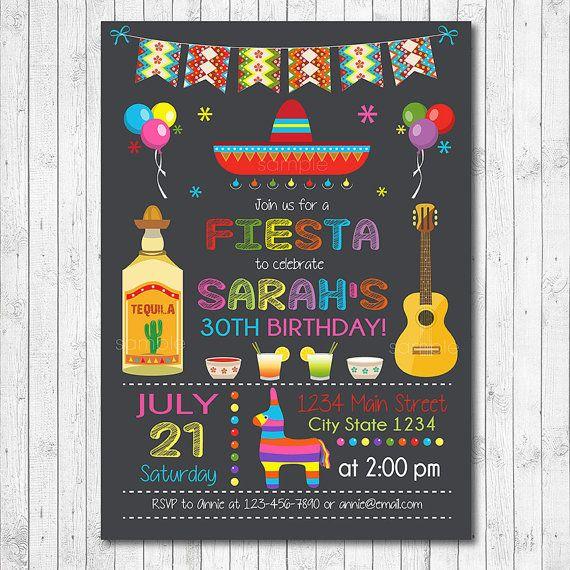 Mexican Fiesta Birthday Invitation Fiesta Invite by funkymushrooms